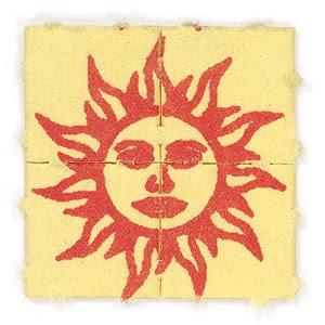 Orange sun LSD blotter